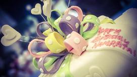 Торт с сердечками и надписью
