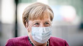 Ангела Меркель в медицинской маске