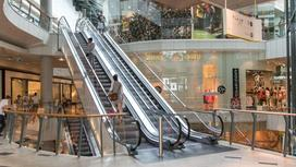 Люди поднимаются по лестнице в ТРЦ
