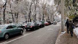 Пробка на дороге зимой