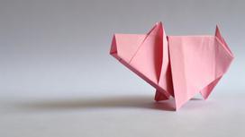 Оригами розового цвета