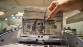 Девушка держит доллары