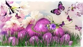 Пасхальные яйца, бабочки, цветущие ветви
