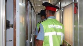 Транспортные полицейские в поезде