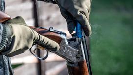 Мужчина закладывает патрон в охотничье ружье