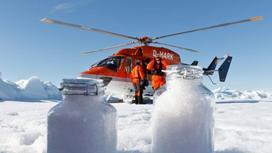 снег в банках, вертолет