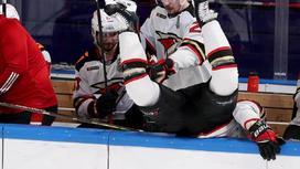 Максим Гончаров вылетает за борт хоккей