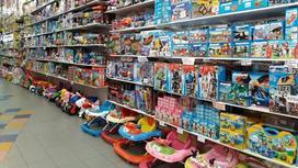 Игрушки на полках в магазине