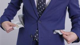 Карманы пиджака наполнены деньгами