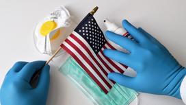 Флаг США, маска, респиратор