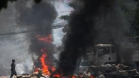 Пожар во время протестов в Мьянме