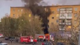 Пожар в доме в Абае