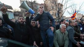 Оппозиционеры Армении на протесте