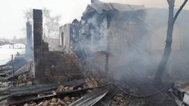 Дом сгорел в СКО