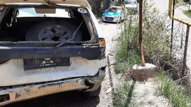 Внедорожник, пострадавший в аварии в Алматы