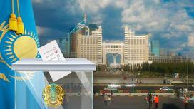 урна для выборов на фоне флага Казахстана
