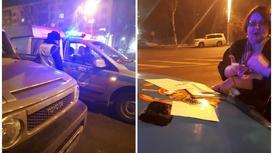 полицейская машина, кадры с места происшествия