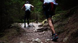 Люди бегут по горам
