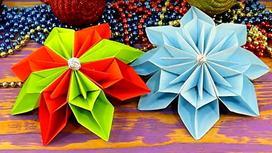 Объемные снежинки из цветной бумаги