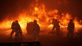 Пожарные борются с огнем