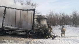 Пожар на трассе в ЗКО