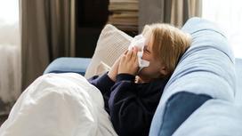 Мальчик сидит на диване и чихает