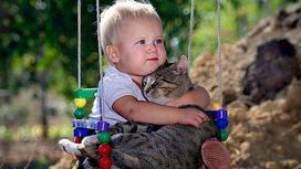 Малыш на качелях обнимает котика