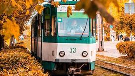Трамвай едет по осеннему городу