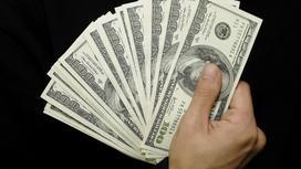 Человек держит доллары