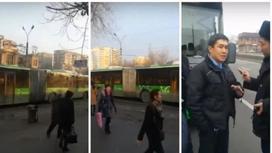 """Автобусы-""""гармошки"""" устроили дорожный коллапс в Алматы (видео)"""