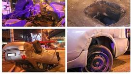 Алматыда беті ашық құдыққа түскен Nissan көлігі аударылып қалды (фото)