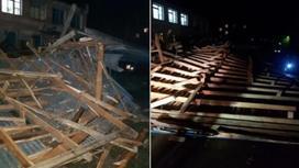 Сорванная ветром крыша покалечила двух детей в Риддере (фото, видео)