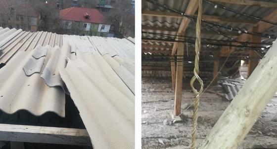 Ветер сорвал кровлю в Атырау