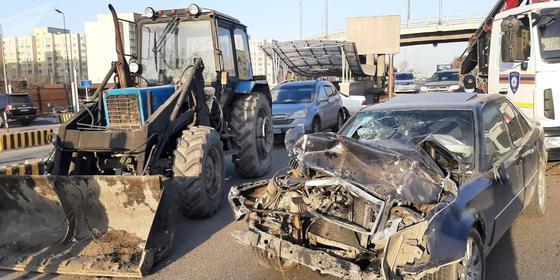 Место аварии в Алматы