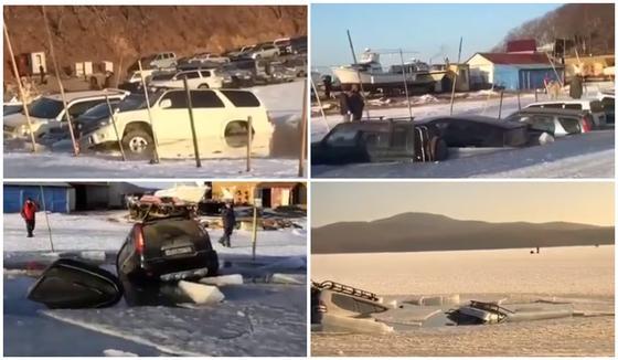 Около 30 машин провалились под лед (видео)
