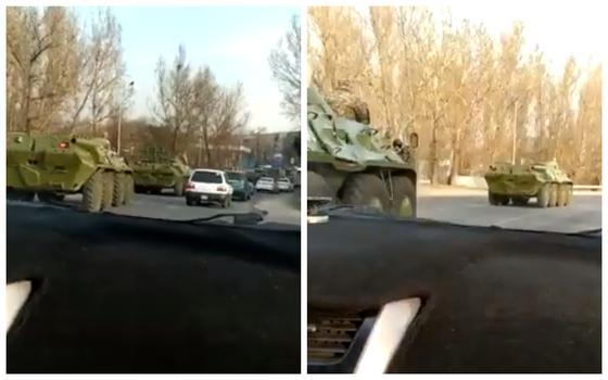 Военная техника разъезжает по улицам Алматы из-за коронавируса (видео)
