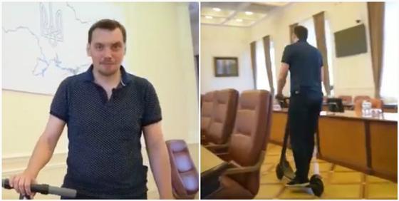 Новый украинский премьер прокатился на самокате по зданию правительства