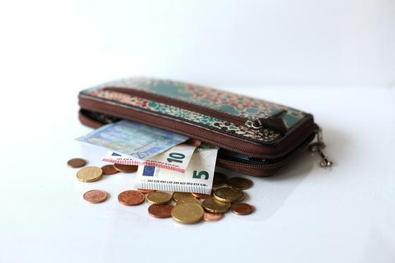 Деньги лежат в женском кошельке