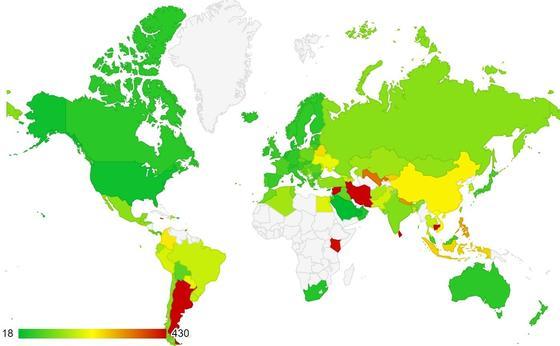 Страны закрашены на карте в зависимости от доступности ипотеки