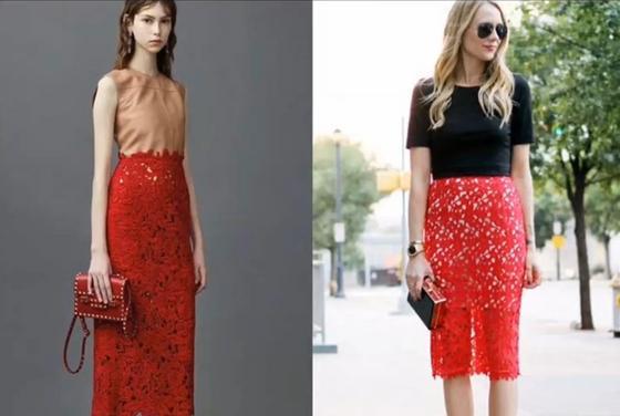 Кружевные юбки-карандаш красного цвета на моделях