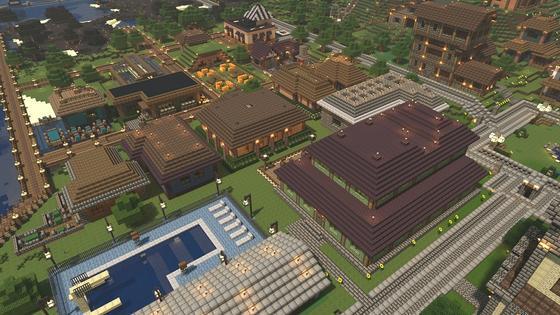 Город в Minecraft с высоты