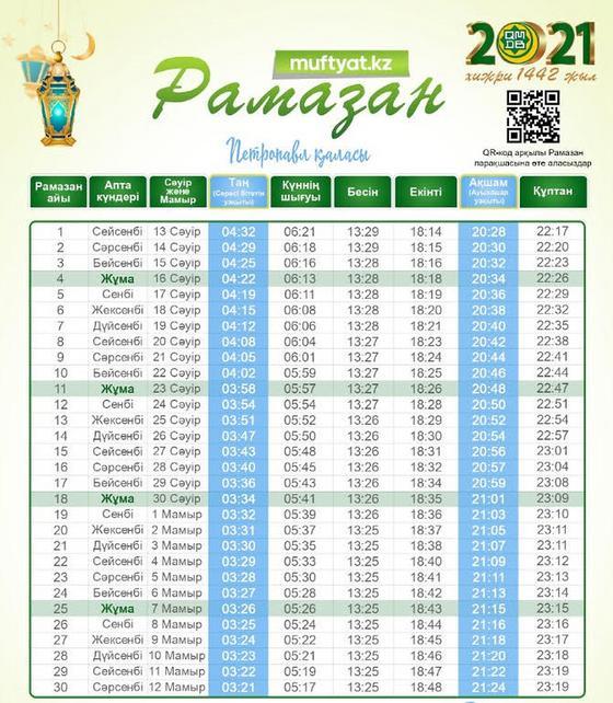 Расписание Рамадана