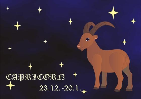Знак зодиака Козерог на синем фоне