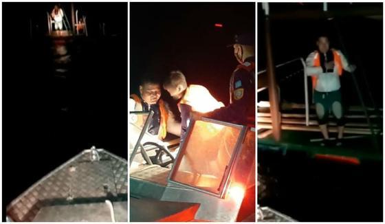 Отца и сына на самодельном понтоне унесло ветром на Капчагайском водохранилище (видео)