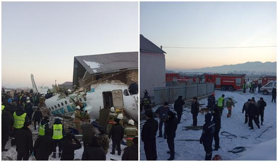 Как работают спасатели на месте крушения самолета Bek Air (фото)