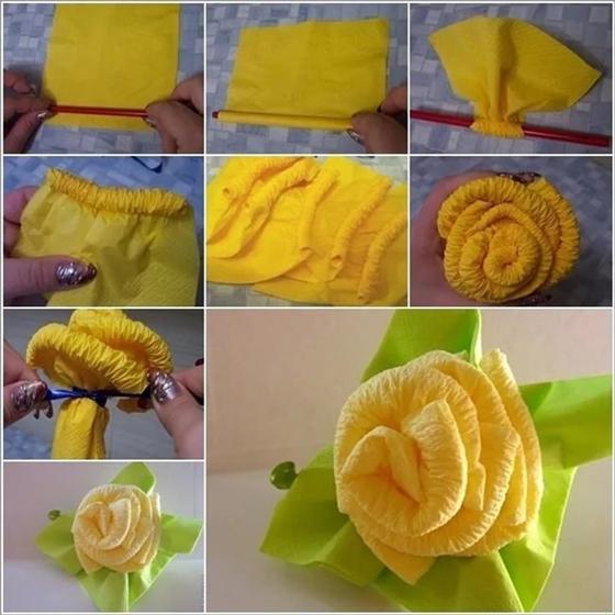 Как сделать розу из салфетки на стол