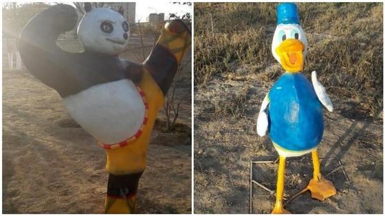 Фигуры сказочных персонажей разрушили вандалы в Актау (фото, видео)
