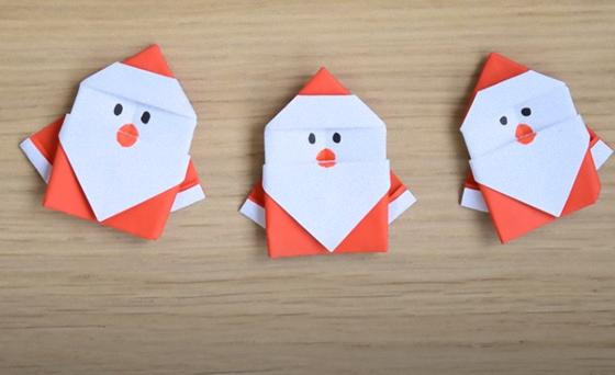 Дед Мороз из бумаги в технике оригами