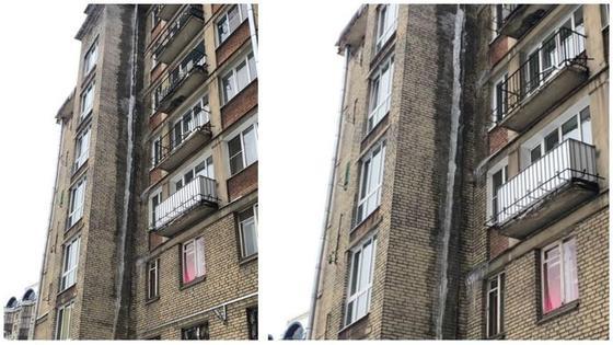 Сосулька величиной в 7 этажей пугает горожан (фото)
