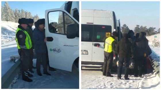 14 человек были эвакуированы из сломавшегося автобуса на трассе «Астана – Петропавловск»